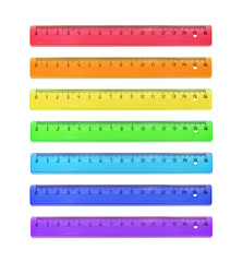 Set of rulers is plastic for measuring centimeters and millimeters. Colors of rainbow, Isolated on white.