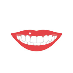 mouth with teeth color silhouette on white background brilliant