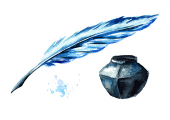 Fountain pen and inkwell. Watercolor hand drawn illustration isolated on white background