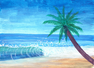 Palm tree on sea shore beach painted in gouache