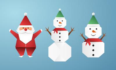 bonhomme de neige et père noël origami snowman and santa claus