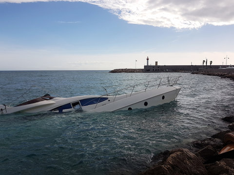Luxury Yacht Half Sunken