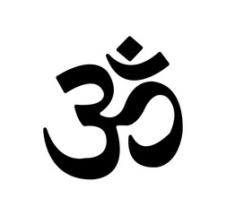 Simple, black om symbol for the sacred sound in Hinduism, isolated on white background