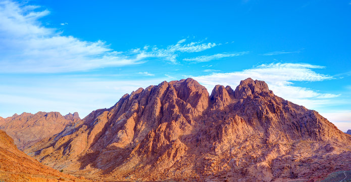 Aerial view of Sinai mountains in Egypt from Mount Moses