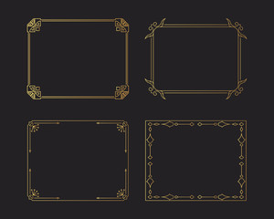Golden vintage swirl borders set. Gold rectangular hand drawn ornate frames. Vector isolated flourish design elements.
