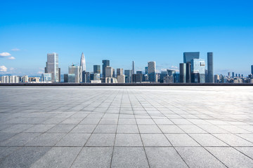 Wall Mural - city skyline with empty square