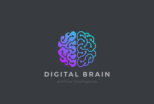 Brain Artificial Intelligence Logo design vector. AI Brainstorm