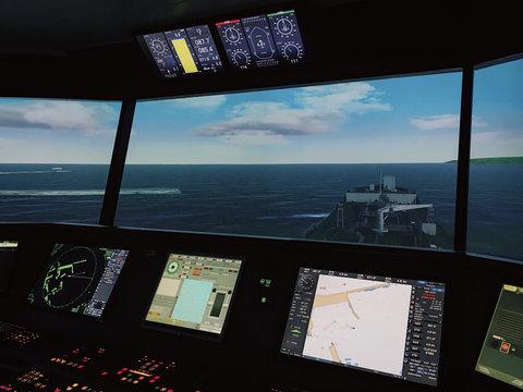 Inside bridge view of a maritime simulation centre.