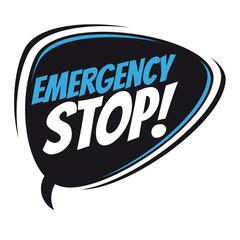 emergency stop retro speech balloon
