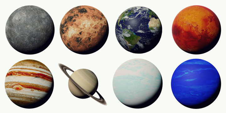the planets of the solar system isolated on white background