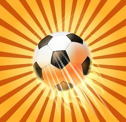 retro soccer ball fire