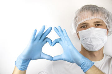 Young guy in a medical mask