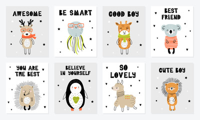 Vector poster collection with cartoon cute animal and funny slogan in scandinavian style for kids