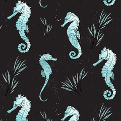 Vector seahorse animals pattern. Surface cover with cute underwater marine fish. Ocean life summer background. Doodle Art.