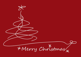 Merry Christmas postcard, scribble of abstract tree, made freehand design