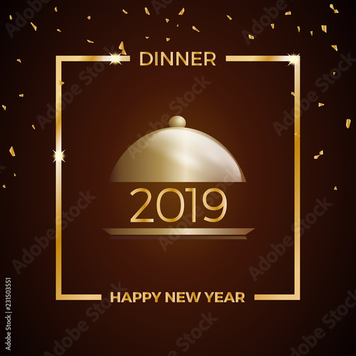 2019 new years eve dinner template for poster cover and menu vector