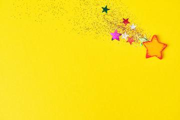 Christmas falling star on yellow background. Design mockup
