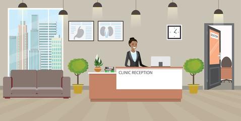 Fototapeta Modern medical clinic reception interior with furniture. obraz