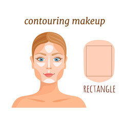 Contouring tutorial for rectangle face. Makeup applying rules. Vector template. Darkening and lightening of the face.