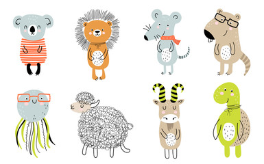 Vector collection with cartoon cute animals for kids