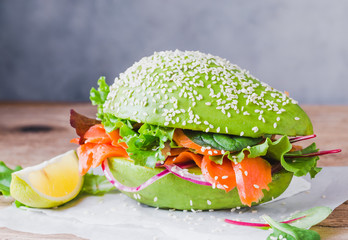 Avocado burger buns healthy raw food copy space.