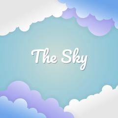 The sky with paper cut background. vector illustration.