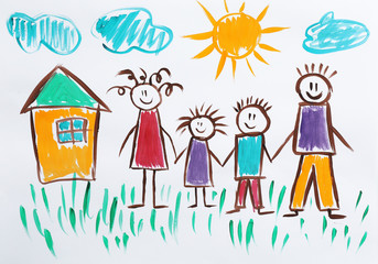 Colorful children painting of happy family on white background