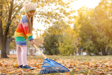 Cute girl cleaning fallen leaves with rake, outdoors. Autumn work