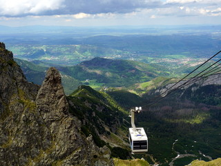 Photo sur Aluminium Muraille de Chine The Cable Car approachingto the summit of Kasprowy Wierch Mountain in Tatra Mountains, Poland