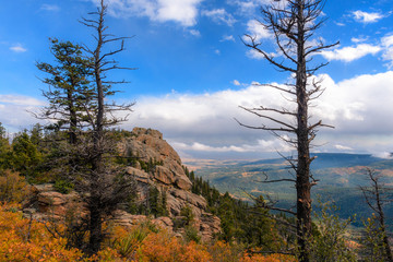 Glorious view of plains from mountain ridge