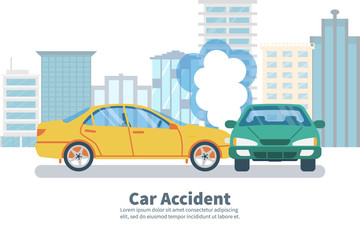 Papiers peints Cartoon voitures Car accident concept on background of big city. Transport incident, cartoon style. Vector illustration flat design. Two vehicle collided on the road. Crash car. Violation of driving safety rules.