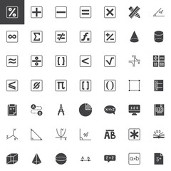 Mathematics vector icons set, modern solid symbol collection, filled style pictogram pack. Signs, logo illustration. Set includes icons as math, percentage, geometry, algebra, arithmetic, calculator