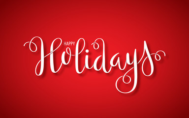 HAPPY HOLIDAYS ribbon-effect brush calligraphy banner on red background