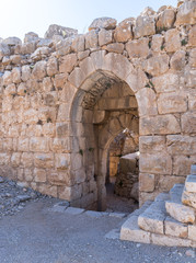 Fragment  of the north eastern entrance to the Nimrod Fortress located in Upper Galilee in northern Israel on the border with Lebanon.