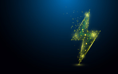 Lighting bolt form lines, triangles and particle style design. Illustration vector