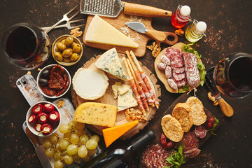 Huge assortment of various tasety spanish, french or italian apertizers. Cheese, meat, olives,...