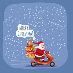 Merry Christmas Happy Santa Claus with a gifts box riding a scooter. Christmas holiday theme design element for greeting cards, banners, ads in contemporary cartoon style. Vector lustration