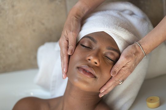 Young African-American Woman Spa Treatment Relaxing