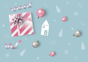 Christmas and New Year design of pink gift box and xmas ball vector illustration