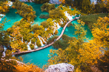 beautiful lakes landscape fall season - Plitvice Lakes - Croatia travel destination