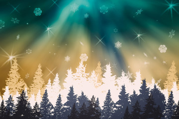 Winter night landscape-forest panorama with blue- green-white christmas trees, northern lights, aurora, snow, snowflakes, spruce silhouettes. Magic night, festive background, Christmas card.
