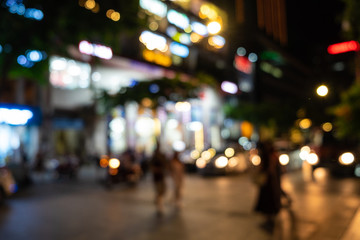 View of the street with the blur style making bokeh scene