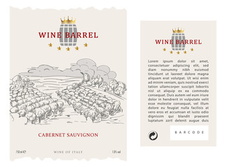 Set of Vector wine label, Front and Back