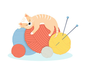 Funny cartoon cat lies with pleasure on the balls of yarn