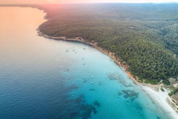 Sunset coastline aerial