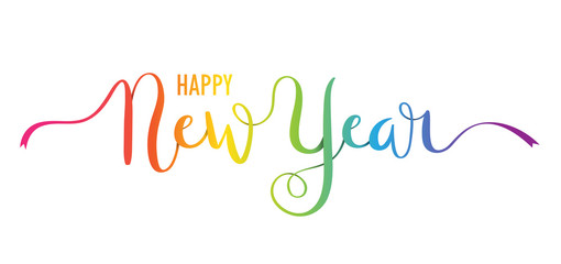 HAPPY NEW YEAR ribbon-style hand lettering banner