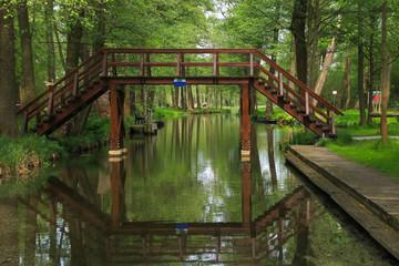 Spreewald, Naturhafen Raddusch, wooden bridge, symbol, Germany