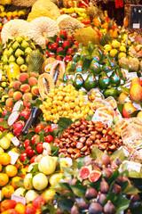 Spain. Barcelona. Sale of exotic fruits in La Boqueria market