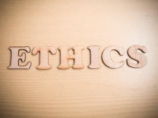 Ethics. Words Typography Concept