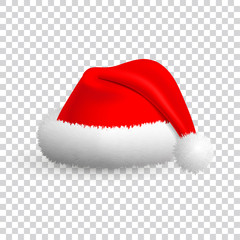 Santa Claus hat isolated on transparent background. Vector Realistic Illustration.